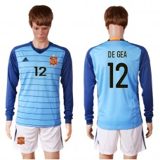 2016 European Cup Spain blue goalkeeper long sleeves 12 DE GEA Soccer Jersey