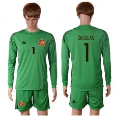2016 European Cup Spain green goalkeeper long sleeves 1 CASILLAS Soccer Jersey