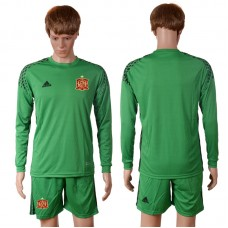 2016 European Cup Spain green goalkeeper long sleeves Blank Soccer Jersey