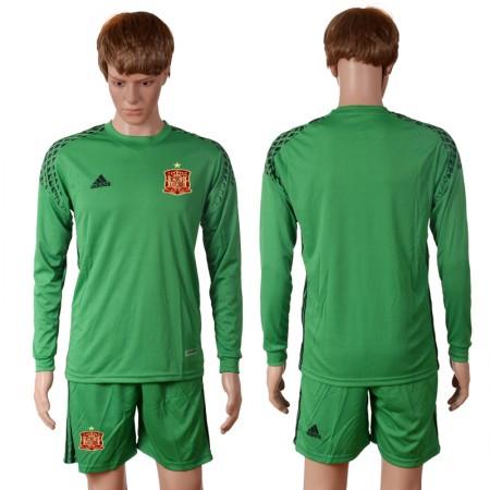 2016 European Cup Spain green goalkeeper long sleeves Blank Soccer Jersey
