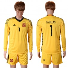 2016 European Cup Spain yellow goalkeeper long sleeves 1 CASILLAS Soccer Jersey