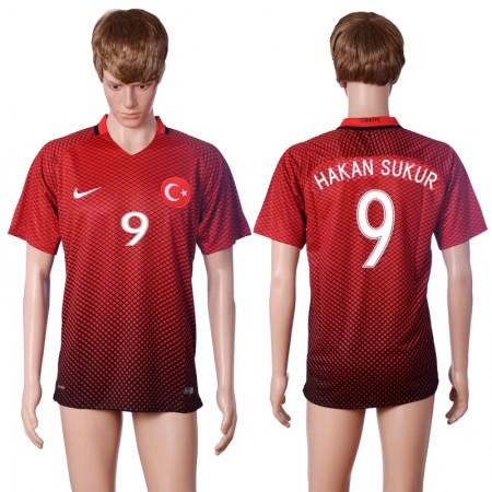 2016 European Cup Turkey home 9 HAKAN SUKUR Red AAA+ Soccer Jersey