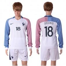 European Cup 2016 France away long sleeve 18 Sissoko white soccer jerseys