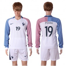 European Cup 2016 France away long sleeve 19 Pogba white soccer jerseys