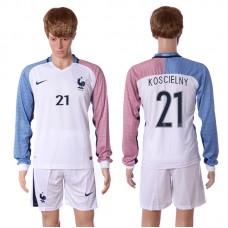 European Cup 2016 France away long sleeve 21 Koscielny white soccer jerseys
