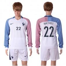 European Cup 2016 France away long sleeve 22 Mathieu white soccer jerseys