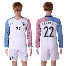 European Cup 2016 France away long sleeve 22 Schneiderlin white soccer jerseys