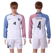 European Cup 2016 France away long sleeve 4 Varane white soccer jerseys