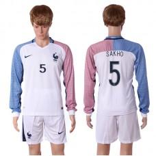 European Cup 2016 France away long sleeve 5 Sakho white soccer jerseys