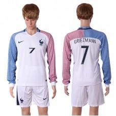 European Cup 2016 France away long sleeve 7 Griezmann white soccer jerseys