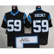 Nike Carolina Panthers 59 Kuechly Black With player signed Elite Jersey