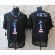 Carolina Panthers 1 Newton USA Flag Fashion Black 2014 New Nike Elite Jerseys