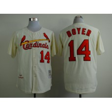 MLB St. Louis Cardinals 14 boyer beige Throwback Jerseys