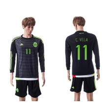 2015 Mexico Copa America 11 C.VELA Long Sleeve Home Jersey