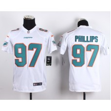 Youth Miami Dolphins 97 Phillips White 2015 New Nike Jerseys
